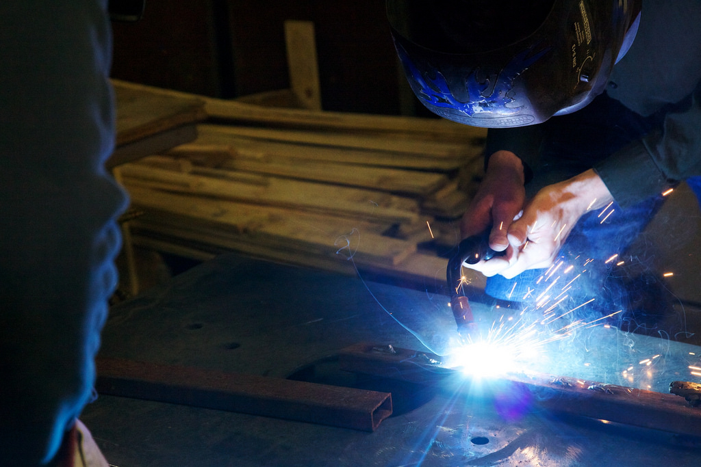 Man Taking a Mig Welding Lesson at the Makerspace