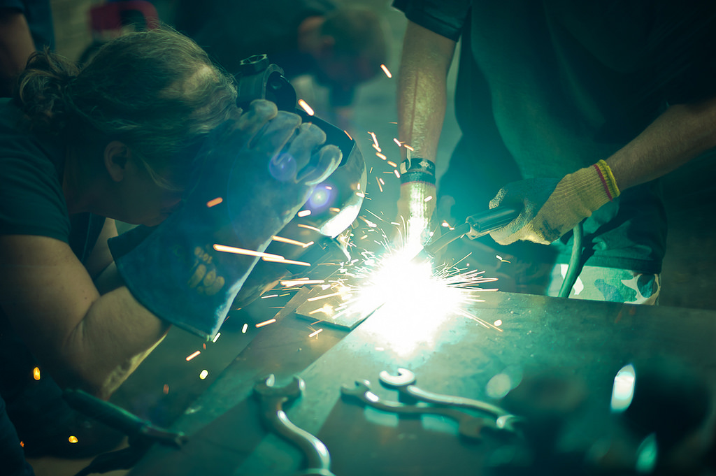 Photo of Woman in a Welding Class for her welding certification