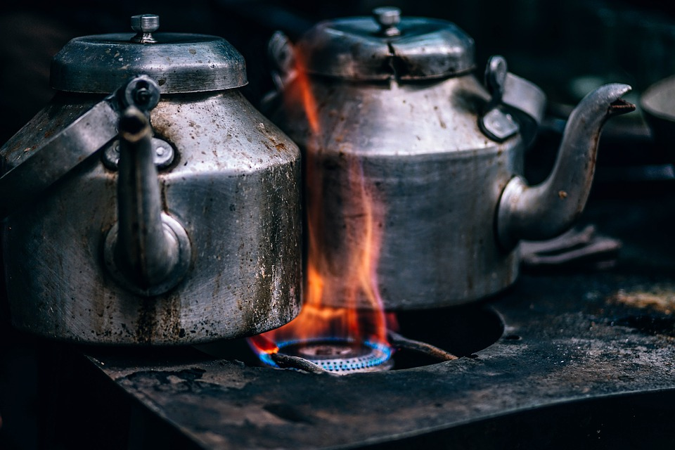 Kettle for Tea Boiling previously subjected to heat for Pot Metal Welding on a Workshop